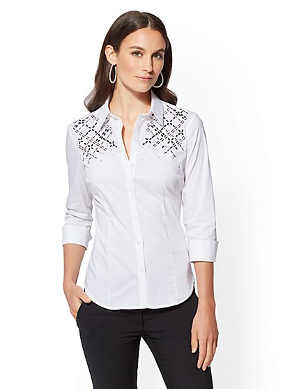 7th Avenue - Petite Embellished Madison Stretch Shirt - New York & Company