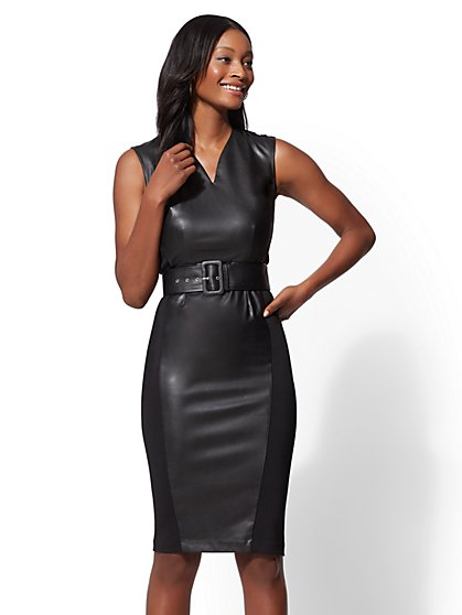 7th Avenue - Petite Faux-Leather Sheath Dress - New York & Company