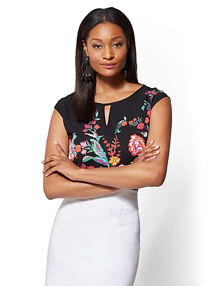 7th Avenue - Petite Floral Keyhole Top - New York & Company