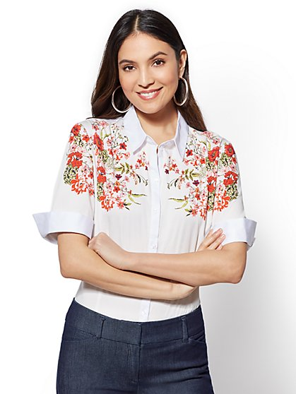 7th Avenue - Petite Floral Madison Stretch Shirt - New York & Company