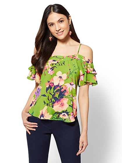 7th Avenue - Petite Floral Ruffled Cold-Shoulder Blouse - New York & Company