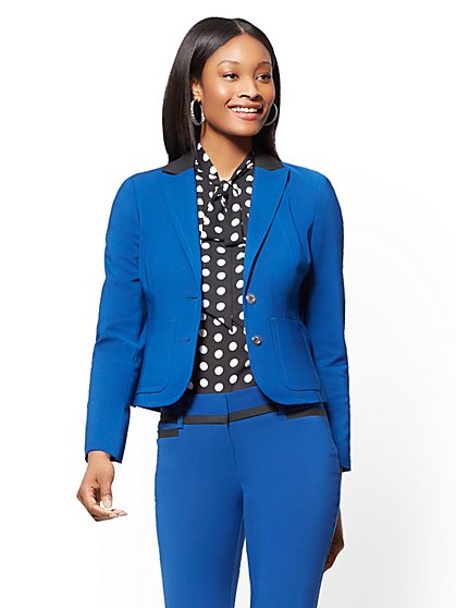 7th Avenue Petite Jacket - Blue Two-Button All-Season Stretch - New York & Company