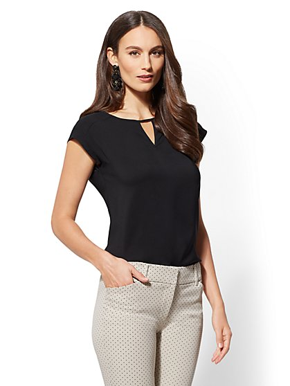 7th Avenue - Petite Keyhole Scoopneck Blouse - New York & Company