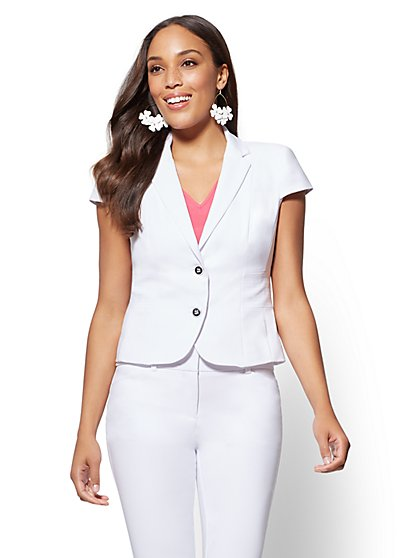 7th Avenue - Petite Lace-Up Two-Button Jacket - All-Season Stretch - New York & Company