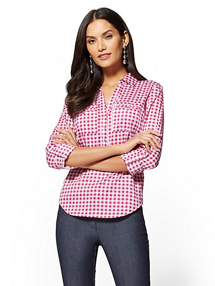 7th Avenue - Petite Madison Popover Stretch Shirt - New York & Company