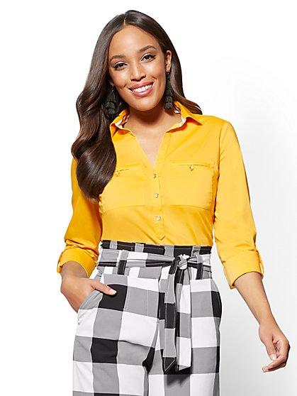 7th Avenue - Petite Madison Stretch Shirt - Contrast Trim - New York & Company