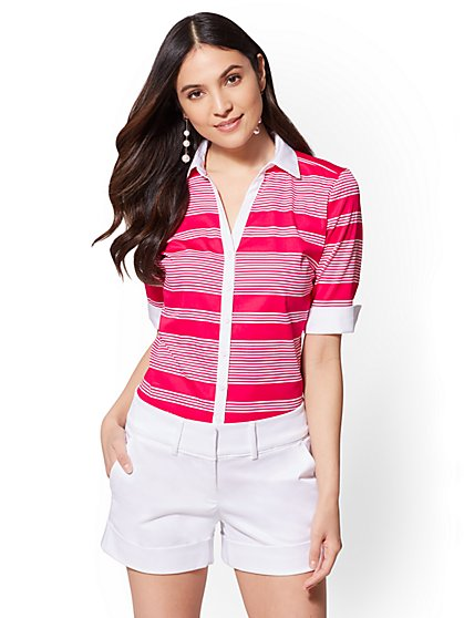7th Avenue - Petite Madison Stretch Shirt - Stripe - New York & Company