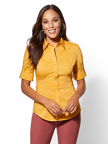 7th Avenue - Petite Madison Stretch Shirt - Waist Inset - New York & Company