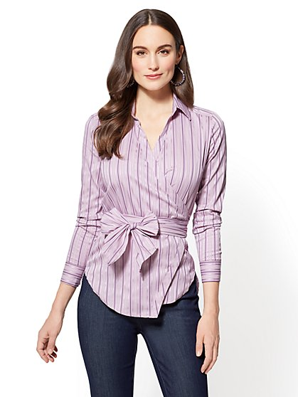 7th Avenue Petite Metallic Wrap-Front Shirt - New York & Company