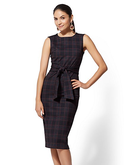 7th Avenue - Petite Navy Plaid Sheath Dress - New York & Company