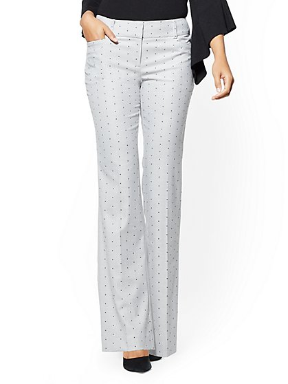 7th Avenue Petite Pant - Boot cut - Modern - Grey Dot Print - New York & Company