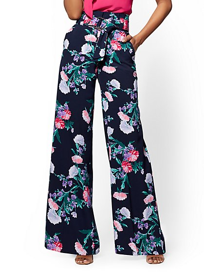 7th Avenue Petite Pant - Navy Floral Paperbag-Waist Palazzo - New York & Company
