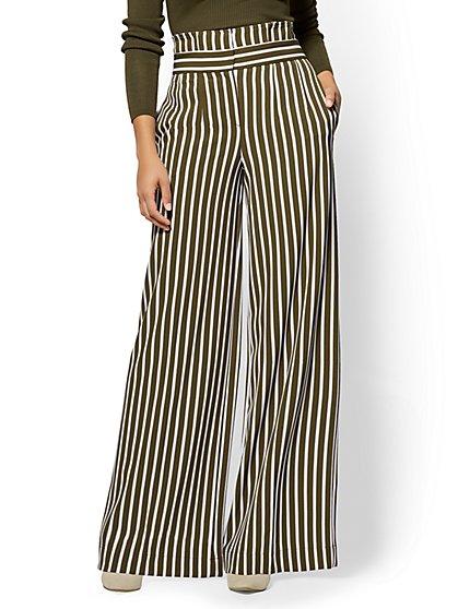 7th Avenue Petite Pant - Paperbag-Waist Palazzo - Stripe - New York & Company