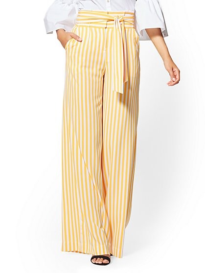 7th Avenue Petite Pant - Paperbag-Waist Palazzo - Yellow Stripe - New York & Company