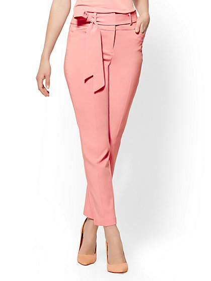 7th Avenue Petite Pant - Pink Paperbag-Waist Slim-Leg - New York & Company