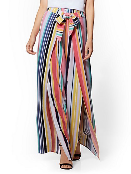 7th Avenue Petite Pant - Striped Side-Tie Palazzo - New York & Company