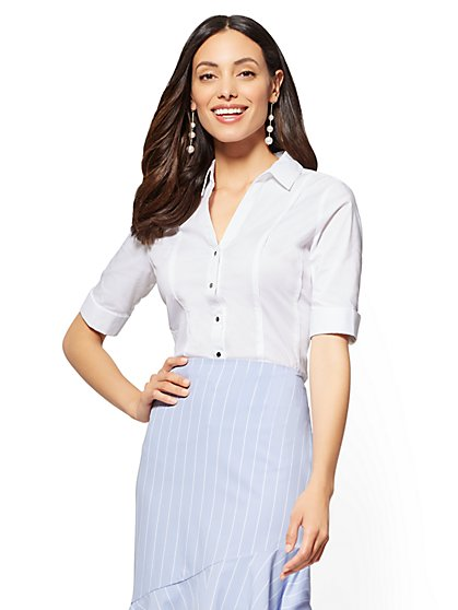 7th Avenue - Petite Piped Madison Stretch Shirt - New York & Company