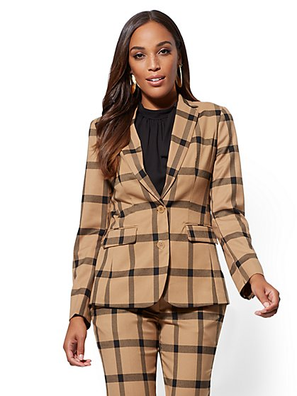 7th Avenue - Petite Plaid 2-Button Jacket - New York & Company