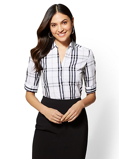 7th Avenue - Petite Plaid Elbow-Sleeve Madison Stretch Shirt - New York & Company