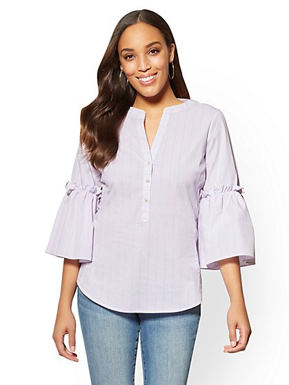 7th Avenue Petite Popover Madison Stretch Shirt - Stripe - New York & Company