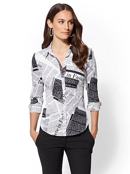 7th Avenue - Petite Print 3/4-Sleeve Madison Stretch Shirt - New York & Company