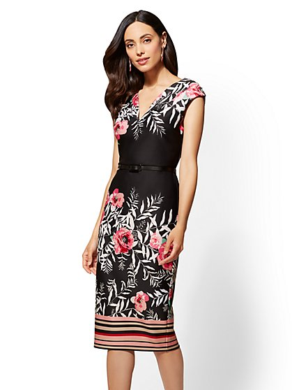 7th Avenue - Petite Printed Black Sheath Dress - New York & Company