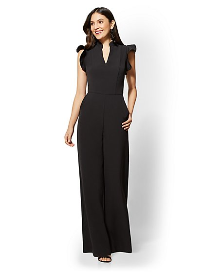 7th Avenue - Petite Ruffled-Sleeve Jumpsuit - New York & Company