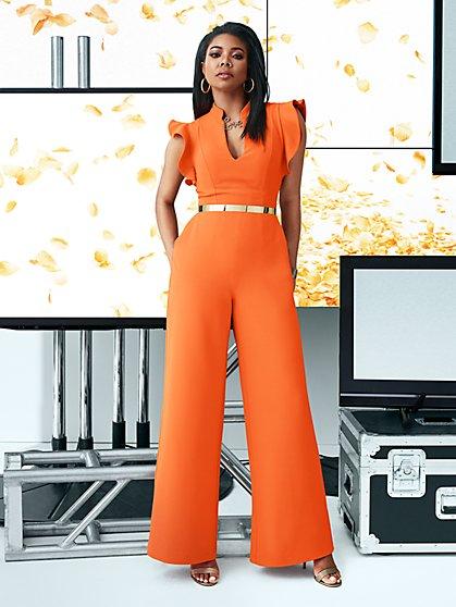 7th Avenue - Petite Ruffled-Sleeve Jumpsuit - New York & Company