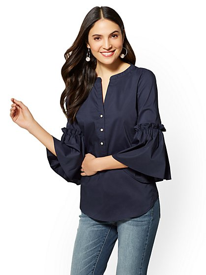7th Avenue Petite Ruffled-Sleeve Split-Neck Shirt - New York & Company