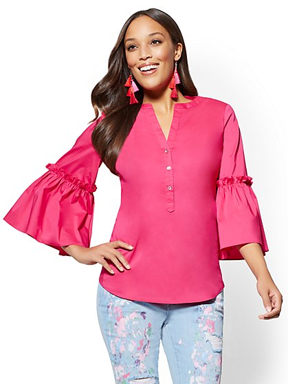 7th Avenue Petite Split-Neck Ruffled-Sleeve Shirt - New York & Company