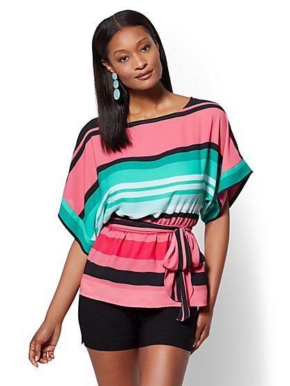7th Avenue - Petite Stripe Kimono Blouse - New York & Company