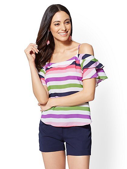 7th Avenue - Petite Striped Cold-Shoulder Blouse - New York & Company