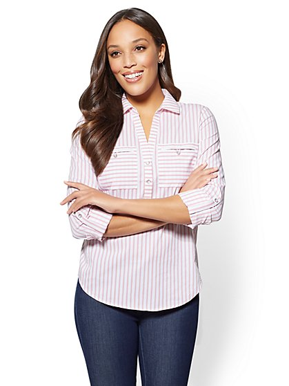 7th Avenue - Petite Striped Madison Stretch Shirt - New York & Company