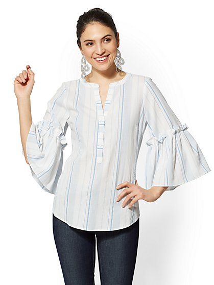 7th Avenue - Petite Striped Ruffled Popover Shirt - New York & Company