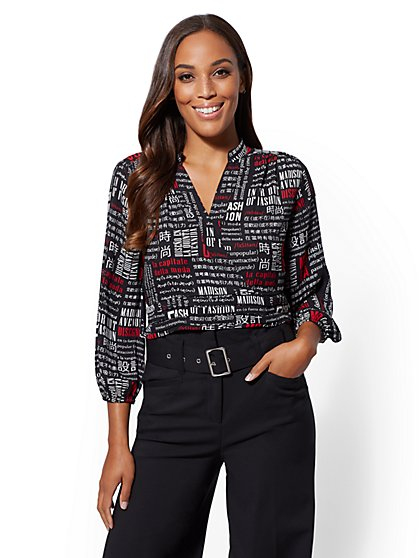 7th Avenue - Petite Text Print Wrap Blouse - New York & Company