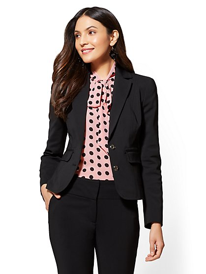 7th Avenue - Petite Topstitched Two-Button Jacket - New York & Company