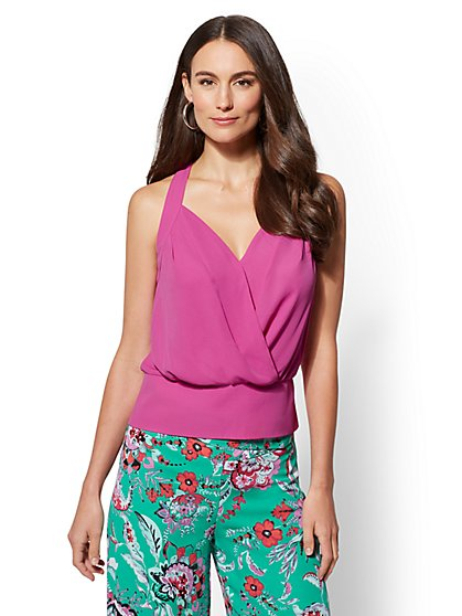 7th Avenue - Petite V-Neck Wrap Halter Blouse - New York & Company