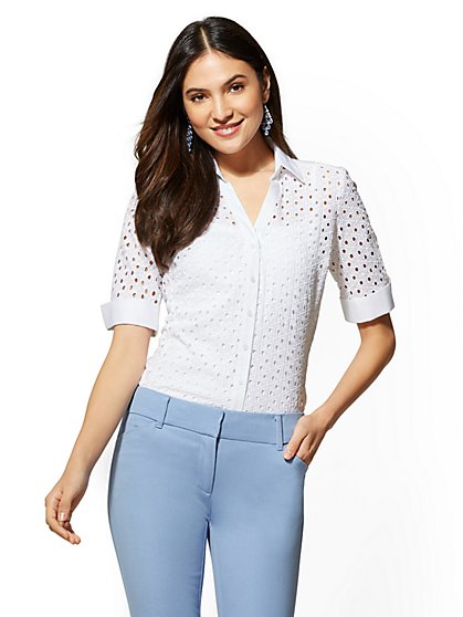 7th Avenue - Petite White Eyelet Madison Stretch Shirt - New York & Company