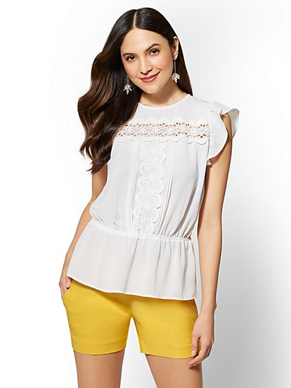 7th Avenue - Petite White Lace-Accent Flutter-Sleeve Blouse - New York & Company