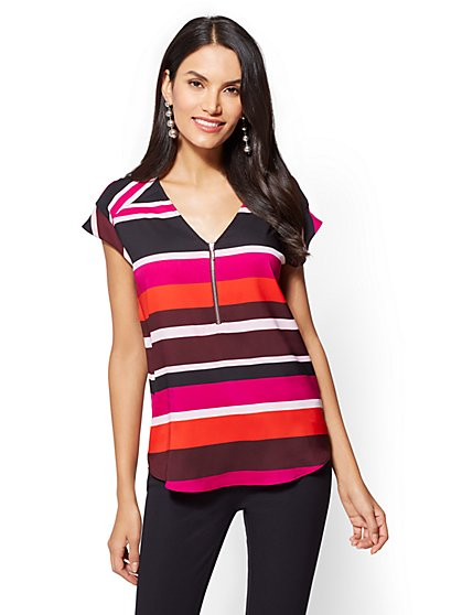 7th Avenue - Petite Zip-Front T-Shirt - Stripe - New York & Company