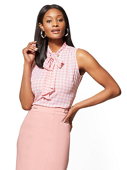 7th Avenue Pink Gingham Bow-Detail Blouse - New York & Company