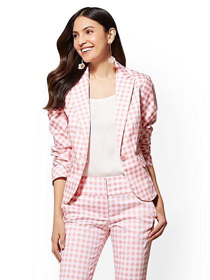 7th Avenue - Pink Gingham One-Button Jacket - Modern - New York & Company
