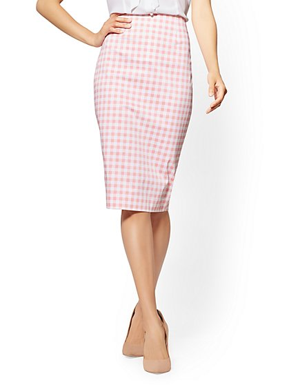 7th Avenue - Pink Gingham Pencil Skirt - New York & Company