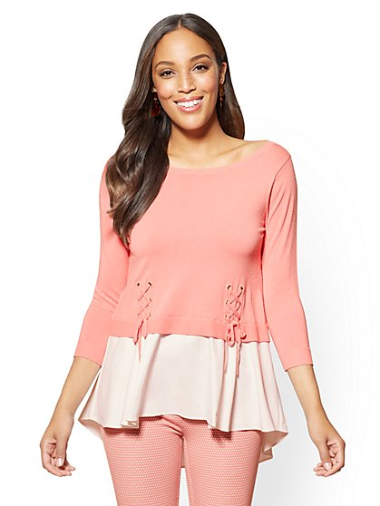 7th Avenue - Pink Lace-Up Detail Twofer Sweater - New York & Company