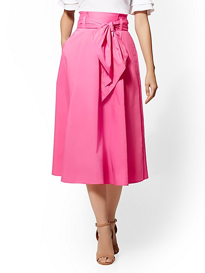 7th Avenue - Pink Paperbag-Waist Full Skirt - New York & Company