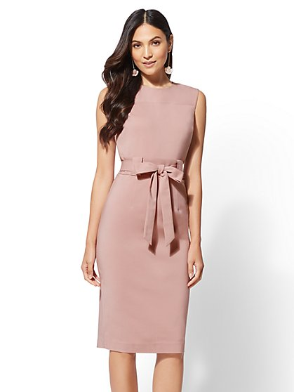 7th Avenue - Pink Tie-Waist Sheath Dress - All Season Stretch - New York & Company
