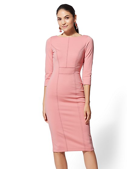 7th Avenue - Pink Topstitched Sheath Dress - New York & Company