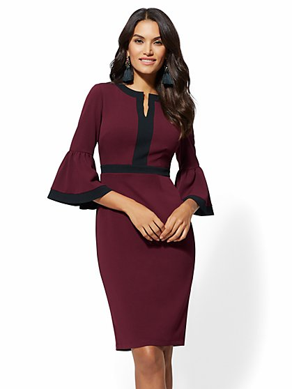7th Avenue - Piped Bell-Sleeve Sheath Dress - New York & Company