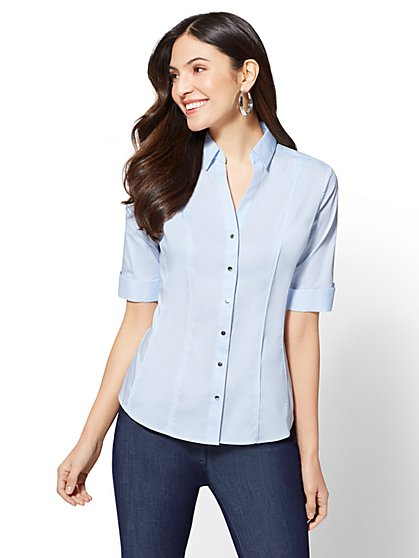 7th Avenue - Piped Elbow Sleeve Madison Stretch Shirt - New York & Company
