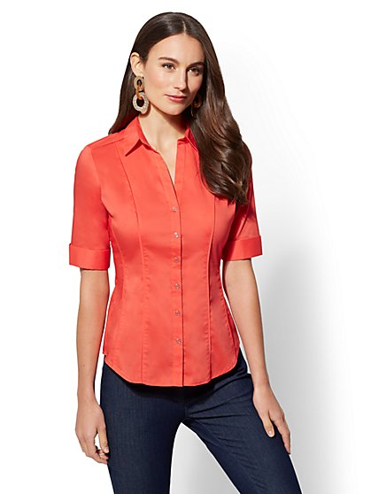 7th Avenue - Piped Madison Stretch Shirt - New York & Company